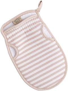 Pink Stripe Scrubber Bath Mitt Glove for Shower Spa Body Exfoliating Mud Dead Skin Remover