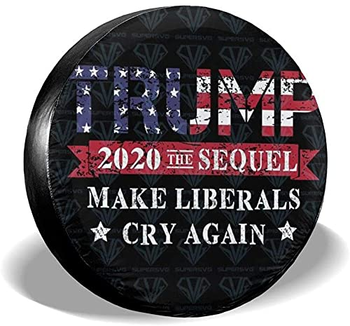 MODORSAN Trump 2020 Keep America Great Spare Tire Cover,Poliéster Universal 17 Pulgadas Cubierta de Rueda de Repuesto para Remolque,RV,SUV,Camper,Camper,Camper,Accesorios para remolques de Viaje