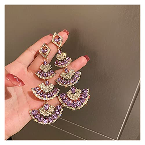 ACEACE Pendientes de Cristal de Cristal púrpura de la Vendimia for Las Mujeres sobresalientes de Larga Distancia geométrica cuelga geométrica Pendientes de la...