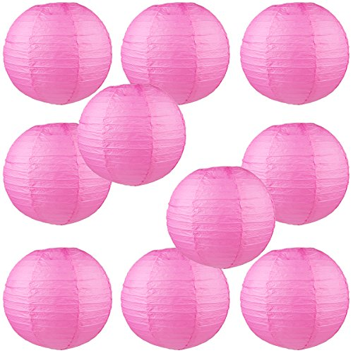 "WYZworks Round Paper Lanterns 10 Pack (Candy Pink, 8"") - with 8"", 10"", 12"", 14"", 16"" option"
