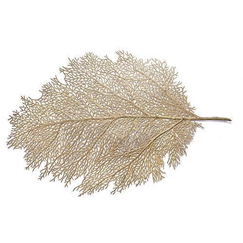 YUnnuopromi - Mantel individual de hojas artificiales con aislamiento antideslizante para mesa, cocina, decoración del hogar, color dorado