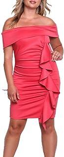 MKHDD Frauen-beiläufiges reizvolles Plus Größen-Kleid Weg von der Schulter Elegante Rüschen übertragen Partei-Nachtclub, figurbetontes Kleid