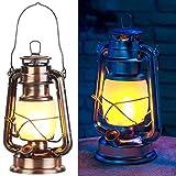 Lunartec Petroleumlampe: LED-Sturmlaterne mit Flammen-Effekt, 25 cm Höhe, bronzefarben (Garten LED Deko Beleuchtung)