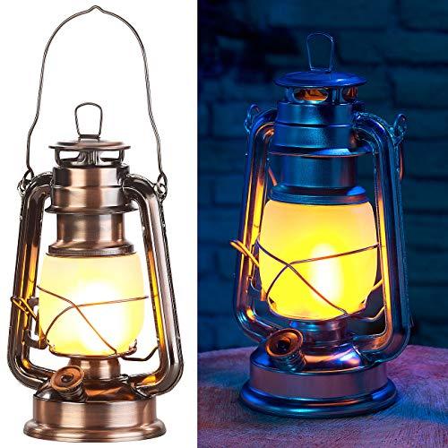 Lunartec Petroleumlampe: LED-Sturmlaterne mit Flammen-Effekt, 25 cm Höhe, bronzefarben (LED Petroleumlampe)