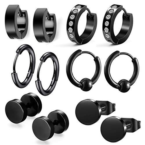 6 paar oorstekers voor heren, creolen, tunnel, oorbellen, heren, piercing-oorringen, zwart, roestvrij staal, creolen, oorbellen, set