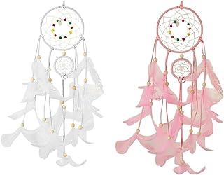Gobesty atrapasueños, hecho a mano, para colgar decoraciones, red circular con plumas atrapasueños para habitaciones, adornos, manualidades, regalos de Navidad, paquete de 2