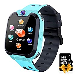 Kids Smartwatch with Phone Call 7 Games 1GB Card Music MP3 Player Camera Calculator Flashlight Alarm Clock for Children Boys Girls Students 4-12 Years Old (Blue)