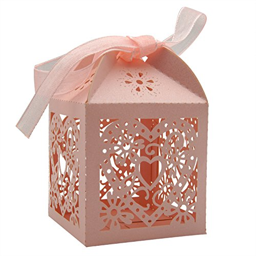 KEIVA 70 Pack Love Heart Laser Cut Wedding Party Favor Box Candy Bag Chocolate Gift Boxes Bridal Birthday Shower Bomboniere with Ribbons (Pink)