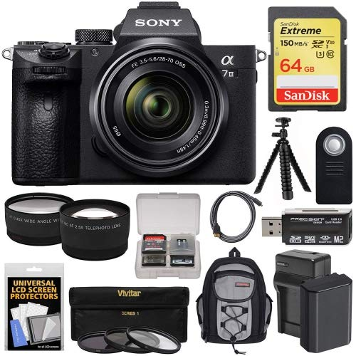 Sony Alpha A7 III 4K Digital Camera & 28-70mm FE OSS Lens with 64GB Card + Battery & Charger +...