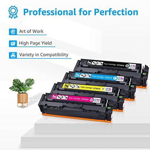 OFFICE HELPER Compatible 203X CF540X Cartuchos de Toner para HP Color Laserjet Pro MFP M281fdw M254nw M254dw MFP M281fdn MFP M280nw (Negro Cian Amarillo Magenta)