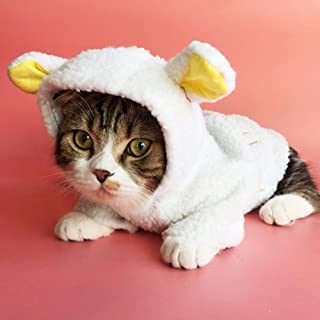 Stock Show Pet Costume Cute White Sheep Costume Small Dog Cat Winter Warm Fleece Clothes Coat Puppy Hoodie Clothing Apparel for Small Dog Doggie Puppy Chihuahua Cat