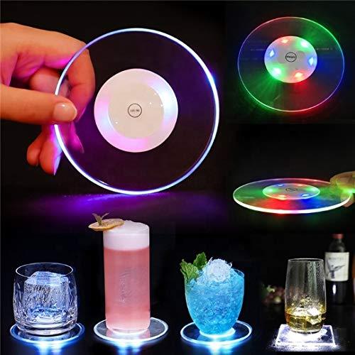 2 sottobicchieri colorati a LED, per feste di matrimonio, narghilè a LED, coaster luminoso