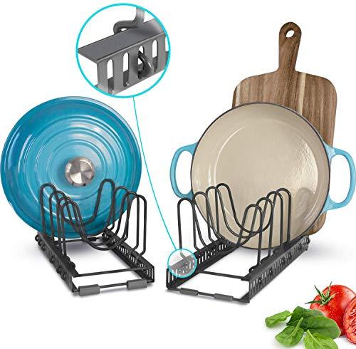 Soporte de tapa expandible con 10 divisores ajustables: almacene más de 9 tapas, separables en 2 organizadores, se puede extender a 22.25 ', utensilios de cocina