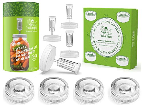 Year of Plenty Fermentation Set   Includes 4 NonSlip Grip Glass Fermentation Weights and 4 Clear Fermenting Lids   For Wide Mouth Mason Jar Ferments such as Sauerkraut, Kimchi and Pickles