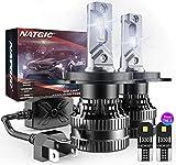 NATGIC H4 Lampadine per Fari a LED con 2PCS Lampadine LED T10, Kit di Conversione HB2 9003 Hi/Lo Beam con Driver Intelligente EMC Aggiornato, 70W 12000LM Xenon Bianco 6500K (Totale 4 Lampadine LED)