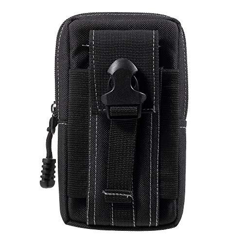 jbTec Gürteltasche Handy Tasche Nylon 165x95x35mm - Karabiner Handytasche Gürtel Herren Smartphone Holster Bag Outdoor, Farbe:Schwarz
