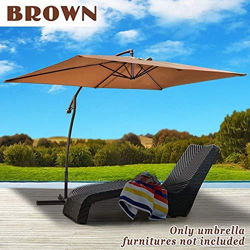 BenefitUSA 10' x 6.5' Cantilever LED Patio Umbrella Battery Light Offset Hanging Banana Sunshade Rectangle Garden Balcony (Brown)