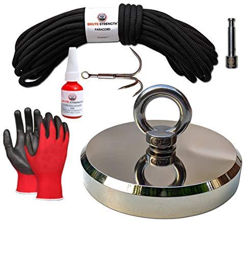 Magnetfischen Magnet - 700KG / 136mm | Inklusive Schraubensicherung, 20m Seil, Haken, Handschuhe | N52 - Ösenmagnet - Magnetangel - Magnet fischen - Magnet angeln – Bergemagnet - Suchmagnet