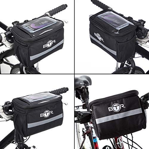 BTR Wasserabweisende Fahrradtasche und Handyhalterung mit durchsichtigem PVC-Fenster für Tablet oder Handy, zur Befestigung am Lenker BZW. Steuer- oder Oberrohr für Karten und Navigationssysteme - 3