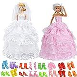 WENTS Kleidung Für Barbie Prinzessin Party-Kleid 10 pcs Schuhe Zubehör Accessories Hochzeit Kleid Puppenkleidung mit Schleier für Barbie-Puppen Spitzenkleider Ballkleider 2pcs