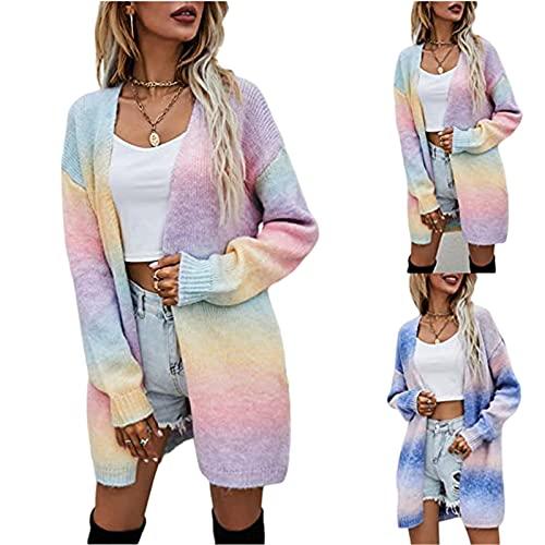 Chaqueta de punto para mujer de la serie | Cárdigan de manga larga para mujer, suéter de punto muy elegante, para otoño e invierno, sexy, para ocio, comodidad, azul, XL