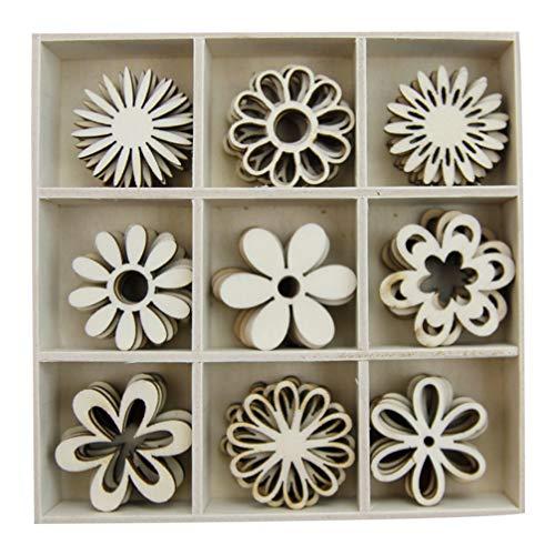 Imikeya 1 doos met 45 stuks versieringen van hout, bloemvormen, decoraties