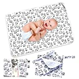 Flock Three Waterproof Baby Diaper Changing Pad with Storage Bag (28.7' X 19.7') Washable Wipeable Reusable Leak Proof Diaper Travel Mat Station Changing Mattress Liner Cribs Bed Cover, Cats