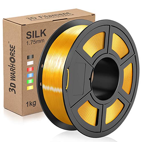 Silk PLA Plus Filament, 1.75mm 3D Printer Filament, Shiny Metallic Silk PLA+ 3D Printing 1KG Spool, Dimensional Accuracy +/- 0.02mm, Gold