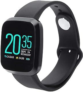 Atyhao Monitor de presión Arterial con frecuencia cardíaca Pulsera Inteligente Smartwatch Monitores de Salud Negros (batería incorporada)