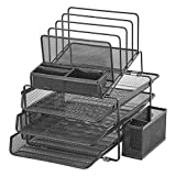 DESIGNA Stackable Mesh Desk Organizer with 3 Sliding Letter Tray Drawers, 4 File Holders Sorter Section, 2 Side Compartments, Pencil Holder Non-slip All In One Desktop Organizers Office Storage, Black