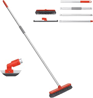 Baban Sweeping Brush & Floor Squeegee, 2 in 1 Broom 60″ with Floor Brush and Window Squeegee, Extensible Poles and Replaceable Heads, Lightweight Solid for Cleaning Floor Wall Pet Hair【2021 Update】