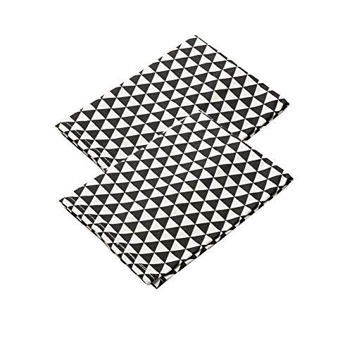 Juego de 2 servilletas de cena de tela blanca y negra, uso diario, elegantes servilletas de cóctel geométricas de lona de algodón para ocasiones especiales familiares