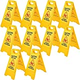 BestEquip 10 Pack Caution Wet Floor Signs, 25' Yellow Wet Floor Sign Bilingual, Fold-Out Wet Floor Signs, Double Sided Caution Sign for Wet Floors for Restaurant, Restroom, Office