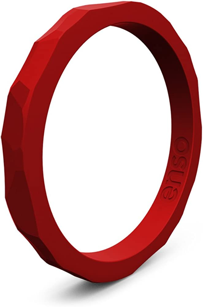 Enso Rings Hammered Stackable Silicone Ring   Premium Fashion Forward Silicone Ring   Hypoallergenic Medical Grade Silicone   Commit To What You Love