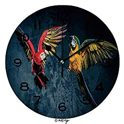 AmaUncle 10 inch Round Clock Two Colourful Parrots Fighting Unique Wall Clock-for Living Room, Bedroom or Kitchen Use No14426