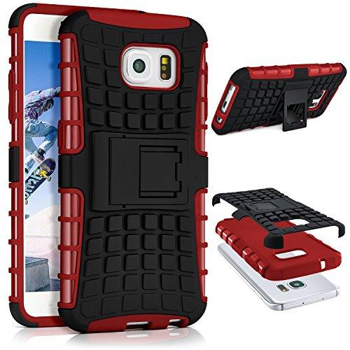 ONEFLOW® Tank Case kompatibel mit Samsung Galaxy S6 Outdoor Hülle | Panzer Handyhülle mit Ständer - 360 Grad Handy Schutz aus Silikon & Kunststoff, Rot