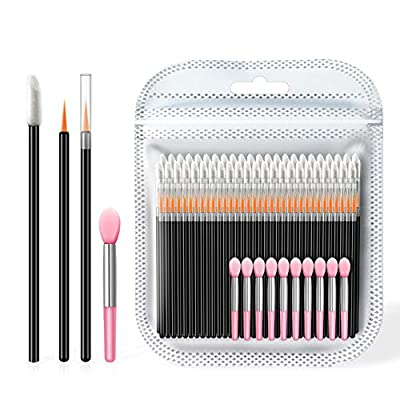 Spove Disposable Lipstick Applicators, Eyeliner & Lip liner Applicators, Silicone Lip Wands Lip Gloss Up Brush Makeup Applicator Tool Kits (110 Lip Brushes set)
