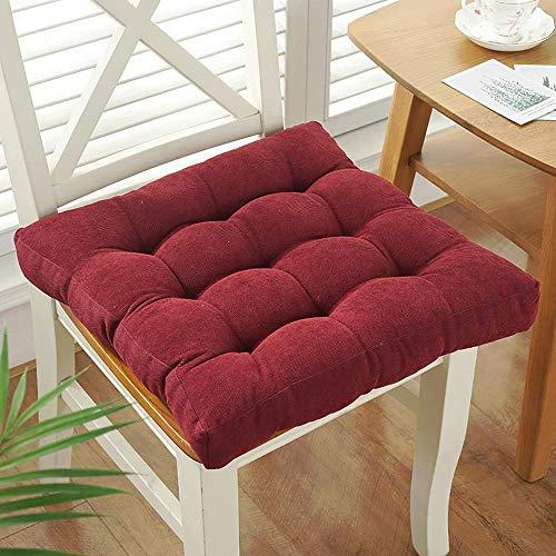 KEOA Set of 2 Antiscivolo Cuscini per Sedia Cuscini di Tiro Sedia per casa Giardino con Legami Chair Cuscino Alta qualità Cuscino per Pavimento Morbido Confortevole-40x40CM Vino Rosso