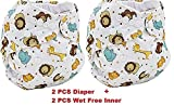 Lukzer [Pack of 2 with 2 Diaper Liners (Inner Cloths)] Reusable New Adjustable (for All Sizes) Baby Washable Cloth Diaper Nappies for Babies of Ages 0 to 2 Years, Random Color