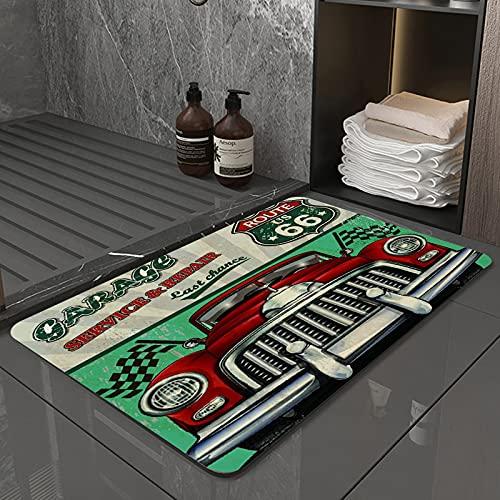 La Alfombra de baño es Suave y cómoda, Absorbente, Antideslizante,Ruta Vintage Garaje Retro Reparación de automóviles Vehículo Estadounidense Años 50 DisApto para baño, Cocina, Dormitorio (50x80 cm)