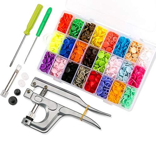 460Pcs T5 Bottoni Automatici a Pressione Plastic e Pinze in Metallo per DIY Cucire (24 colori)