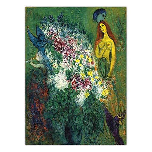 HNZKly Weißrussland Marc Chagall Poster Abstrakter Expressionismus Poster Kunstdrucke Bunte Linie Frauen Wand Bilder Leinwand Gemälde Wohnzimmer Dekor 40x60cm / Unframed-7 Art