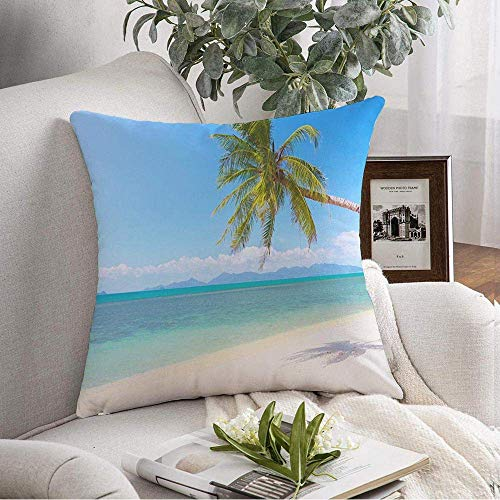 VJSDIUD Federa per cuscino Cozy Beautiful Tropical Beach Hut Coconut Samui Palm Blue Island Parchi naturali di paglia Idilliaca all'aperto Fodera per cuscino per divano Divano Deco