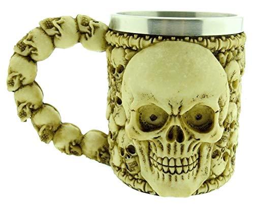 Tazza spaventosa teschio - ossario - cranio - boccale birra - scheletro - caffe - 3d - vichinga - ossa - idea regalo - uomo - acciaio inossidabile - bar - resina - halloween - birrificio - medioevo