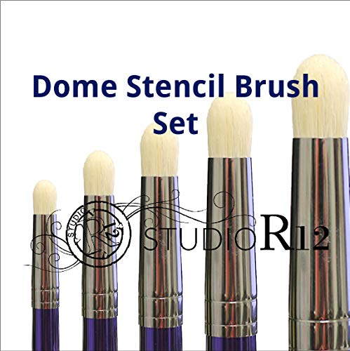 Dome Stencil Brush | Scumble | Swirl | Dry Brush | Prevent Bleeding | DIY Crafting & Painting Tools | Select Size (Set of All 5)