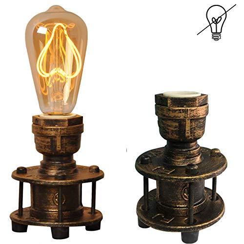 Tischlampe Design Dekorative Leselampe metallTischleuchte Edison steampunk vintage e27 landhausstil Landhaus industrial retro Schreibtisch Licht Nachttisch wasserrohr lampe