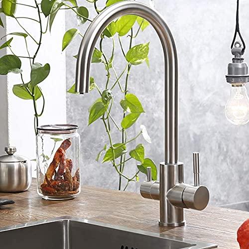 SENWEI Trinkwasser Wasserhahn Wasserfilter Reiniger Küchenarmaturen für Waschbecken Wasserhähne 304 Edelstahl Wasserhahn Gebürstet
