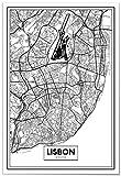 Panorama Poster Karte von Lissabon 35 x 50 cm - Gedruckt