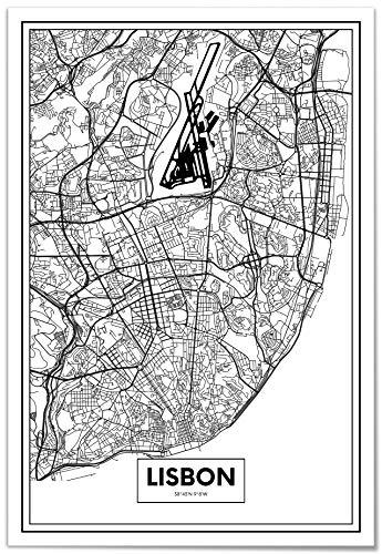 Panorama Póster Mapa de Lisboa 50x70cm - Impreso en Papel 250gr - Póster Pared - Cuadros Decoración Salón - Cuadros para Dormitorio - Póster Decorativos - Cuadros Modernos
