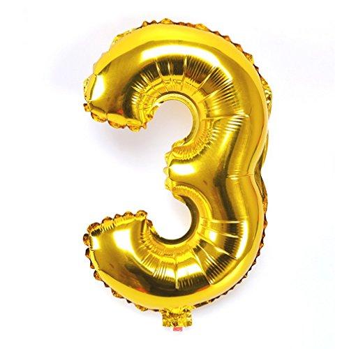 Souarts Ballon Gonflable Forme Chiffre 3 pour Anniversaire Fete Mariage Enfant Couleur Dore 45cmx25cm 1PC